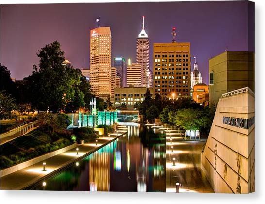 Canvas Print featuring the photograph Indianapolis Skyline - Canal Walk Bridge View by Gregory Ballos