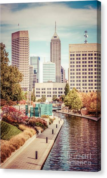 Indiana Autumn Canvas Print - Indianapolis Skyline Old Retro Picture by Paul Velgos