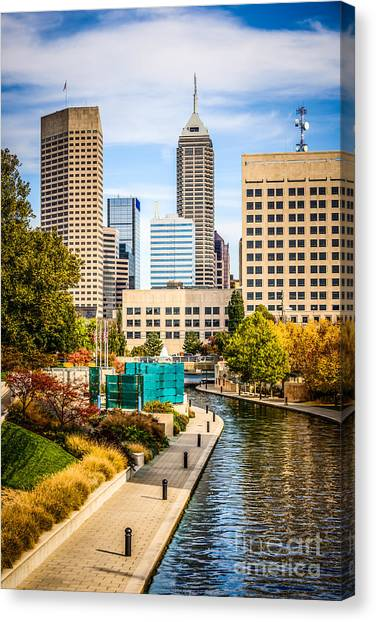 Skylines Canvas Print - Indianapolis Skyline Picture Of Canal Walk In Autumn by Paul Velgos