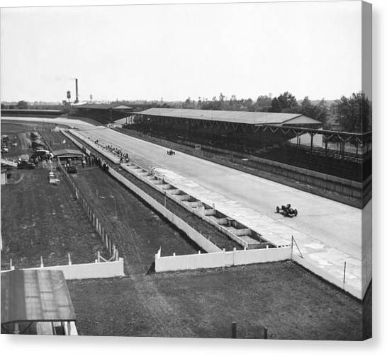 Stock Cars Canvas Print - Indianapolis Speedway Trials by Underwood Archives
