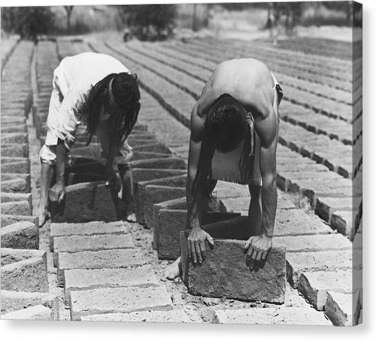 Mission California Canvas Print - Indians Making Adobe Bricks by Underwood Archives Onia