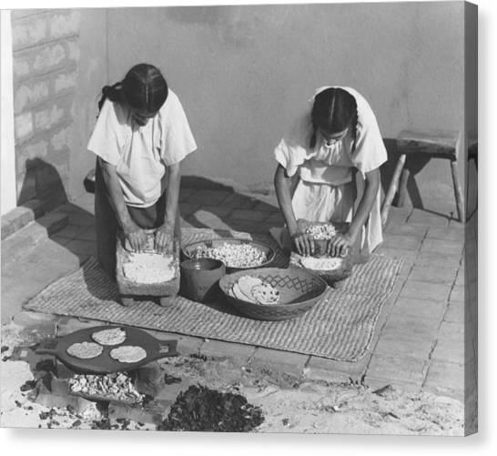 Mission California Canvas Print - Indians Making Tortillas by Underwood Archives