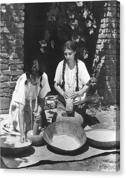 Mission California Canvas Print - Indians Using Mortar And Pestle by Underwood Archives Onia
