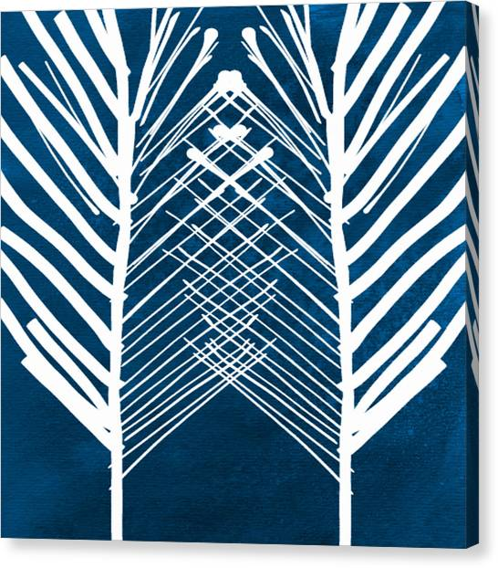 Indigo And White Leaves- Abstract Art Canvas Print