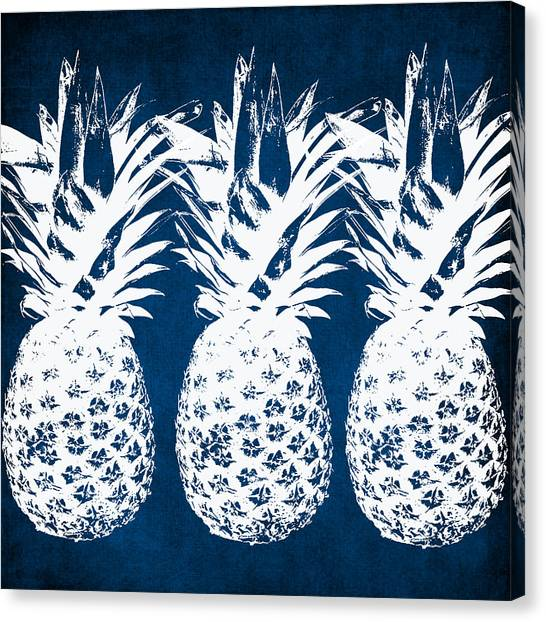 Fruits Canvas Print - Indigo And White Pineapples by Linda Woods