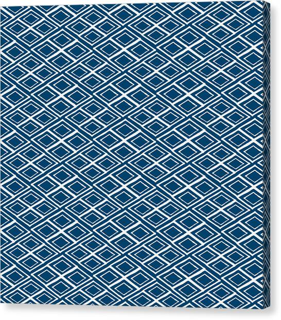 Diamonds Canvas Print - Indigo And White Small Diamonds- Pattern by Linda Woods