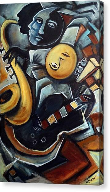 Cubism Canvas Print - Indigo Blues by Valerie Vescovi