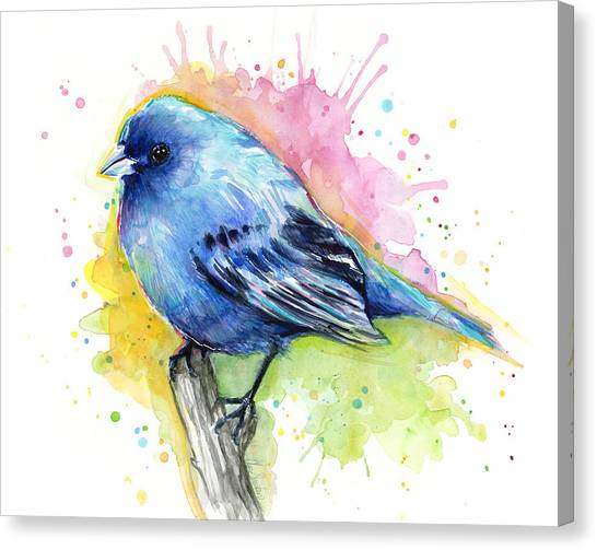 Songbirds Canvas Print - Indigo Bunting Blue Bird Watercolor by Olga Shvartsur