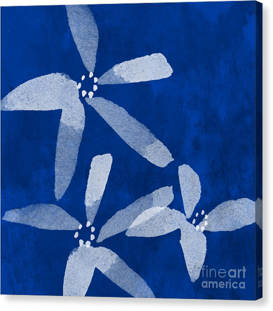 Abstract Flower Canvas Print - Indigo Flowers by Linda Woods