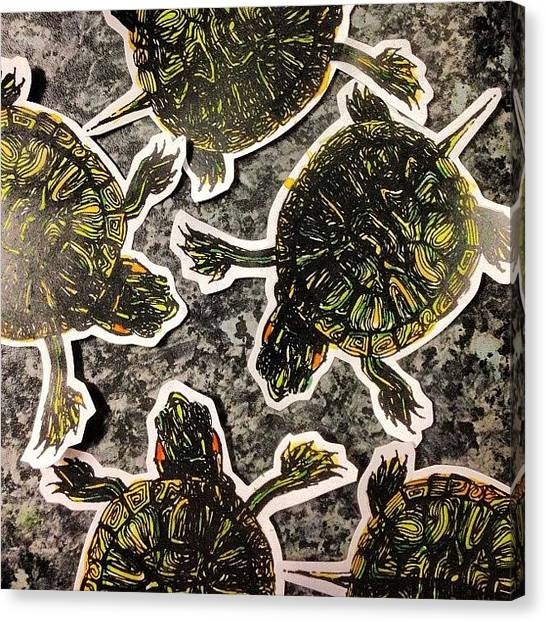 Tortoises Canvas Print - Individually Hand Painted, Handmade by Siobhan Bevans