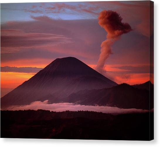 Mountain Sunrises Canvas Print - Indonesia Mt Semeru Emits A Plume by Jaynes Gallery