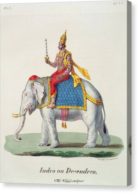 Incarnation Canvas Print - Indra Or Devendra, From Linde by French School