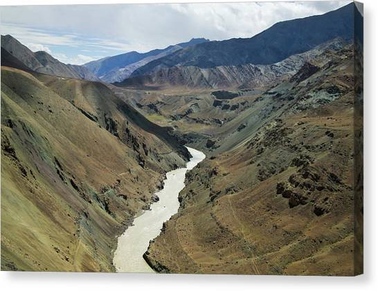Himalayas Canvas Print - Indus River Flowing Through The Valley by Keren Su