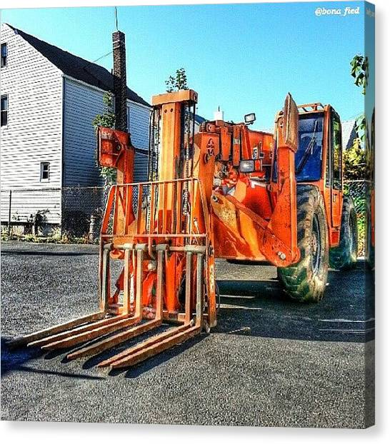 Forklifts Canvas Print - Industrial Art by Brian Lyons