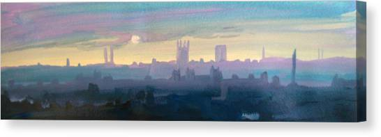 Industrial City Skyline 1 Canvas Print by Paul Mitchell
