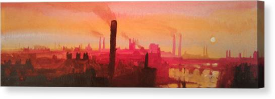 Industrial City Skyline 2 Canvas Print by Paul Mitchell