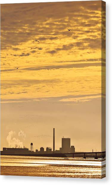 Canvas Print featuring the photograph Industrial Flight by Jon Exley
