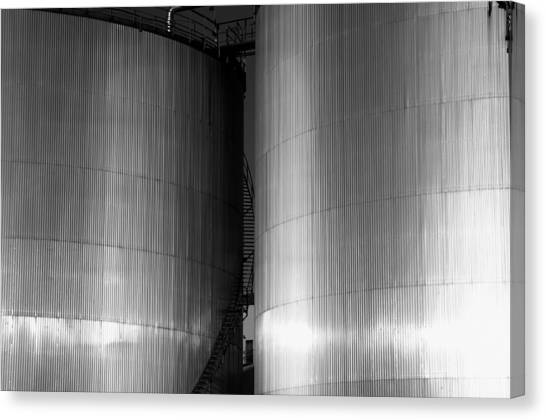 Industry Fuel Tanks At Sunset Canvas Print