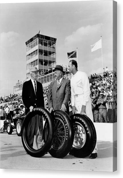 Stock Cars Canvas Print - Indy 500 Firestone Tires by Underwood Archives