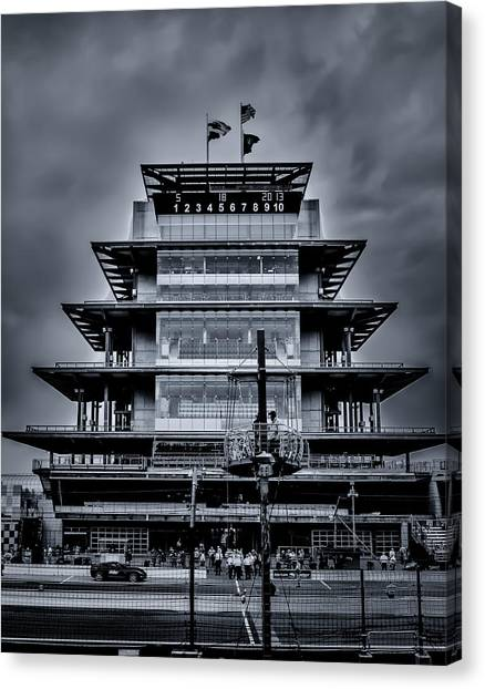 Indy 500 Pagoda - Black And White Canvas Print