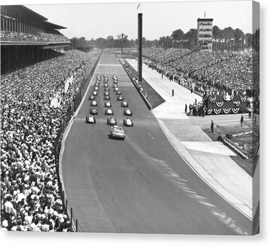 Indy 500 Canvas Print - Indy 500 Parade Lap by Underwood Archives