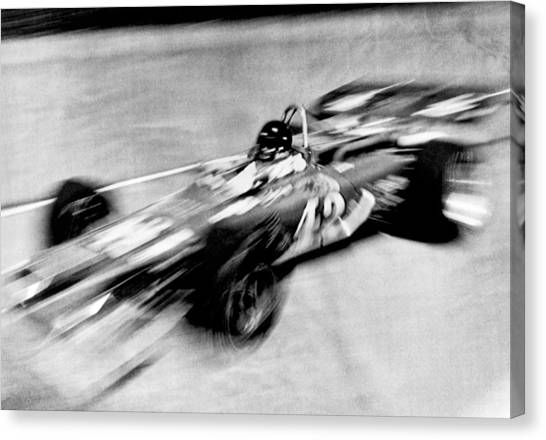 1972 Canvas Print - Indy 500 Race Car Blur by Underwood Archives