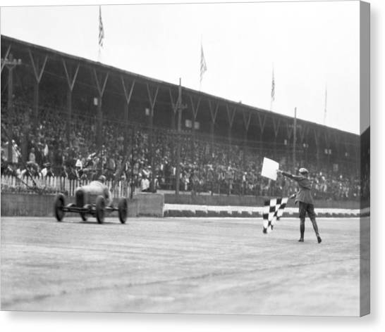 Finish Line Canvas Print - Indy 500 Victory by Underwood Archives