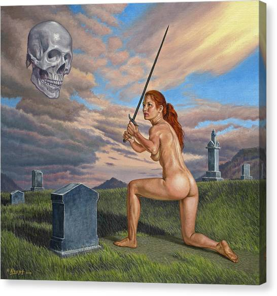Cemetery Canvas Print - Inevitable Futility by Paul Krapf