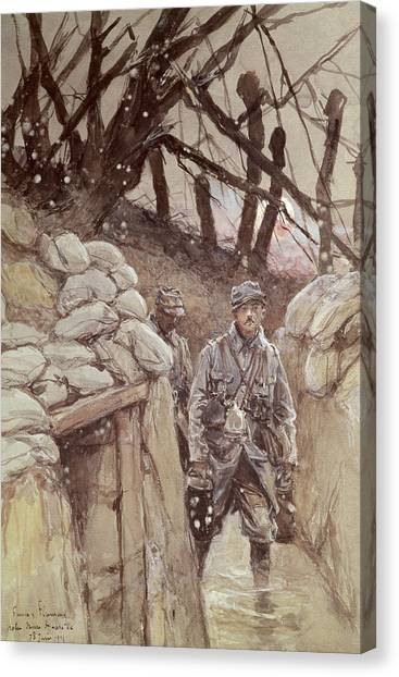 Harsh Conditions Canvas Print - Infantrymen In A Trench, Notre-dame De Lorette, 1915 Wc On Paper by Francois Flameng