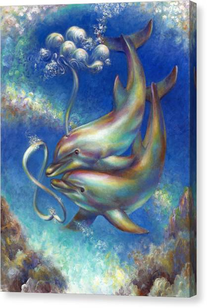Infinity- Bottlenose Dolphins At Play Canvas Print
