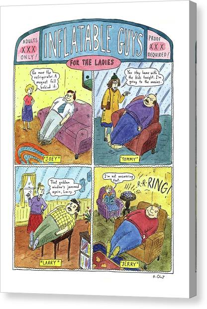 Inflatable Canvas Print - Inflatable Guys For The Ladies by Roz Chast
