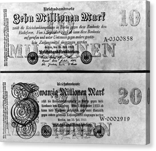 Exchange Rate Canvas Print - Inflated German Mark Bills by Underwood Archives