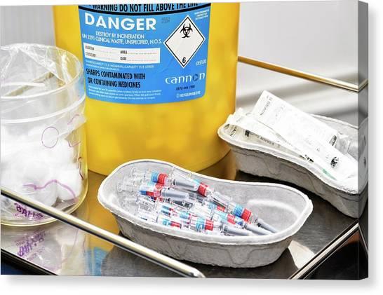 Pom-pom Canvas Print - Influenza Vaccines by Dr P. Marazzi