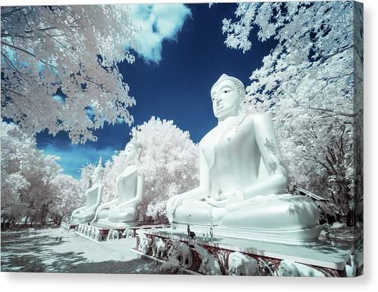 Infrared Photo Buddha Statue Canvas Print
