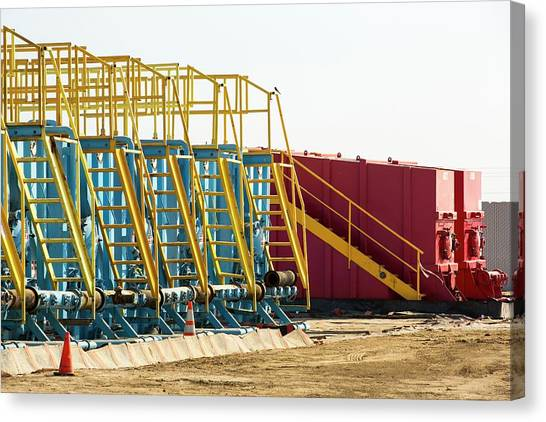 Fracking Canvas Print - Infrastructure On A Fracking Site by Ashley Cooper