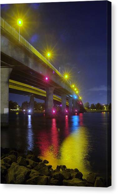 Ingraham Street Bridge At Night Canvas Print