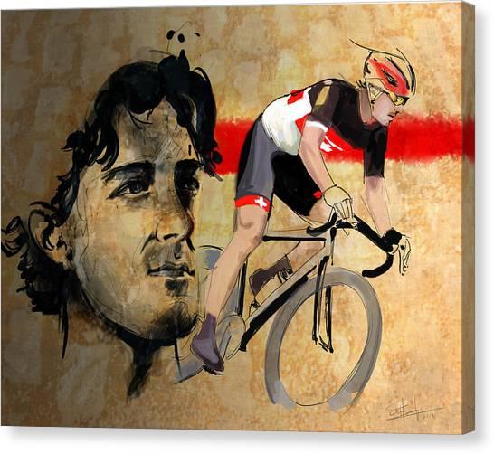 Tour De France Canvas Print - Ink Portrait Illustration Print Of Cycling Athlete Fabian Cancellara by Sassan Filsoof