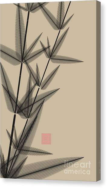 Shadow Canvas Print - Ink Style Bamboo Illustration In Black by L.dep