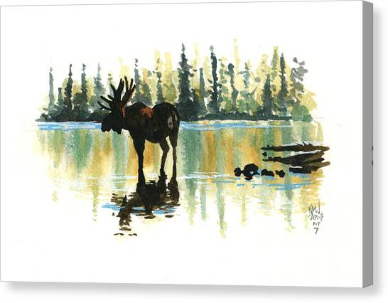 Moose Canvas Print - Inktober 7 Loner by Ken Meyer