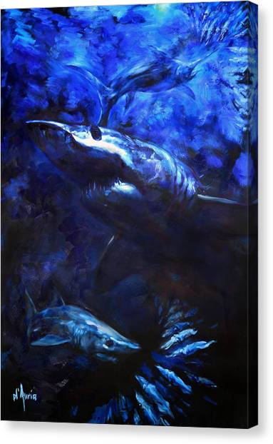 Spearfishing Canvas Print - Inky Waters by Tom Dauria