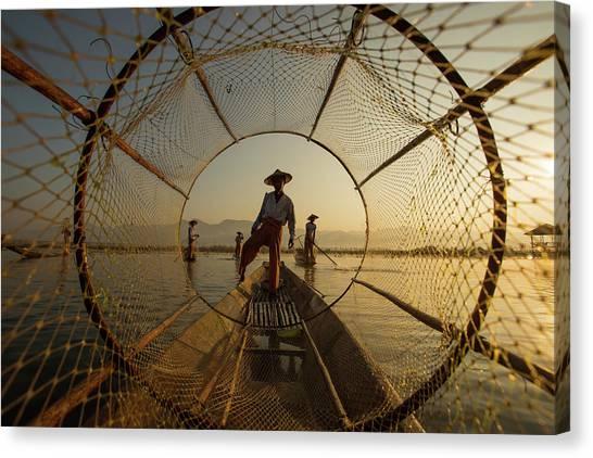 Nets Canvas Print - Inle Fisherman by Gunarto Song