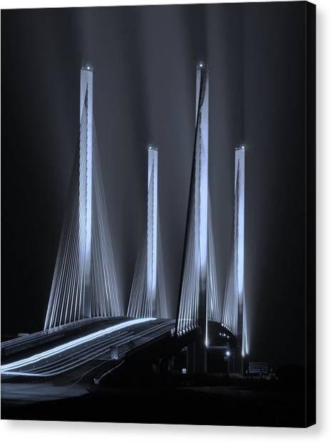 Inlet Bridge Light Trails In Cyan Canvas Print