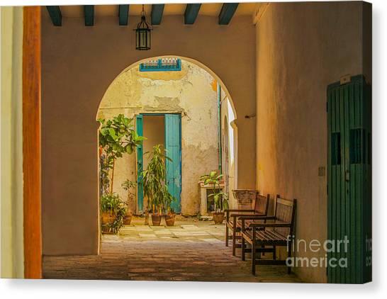 Inner Courtyard In Caribbean House Canvas Print