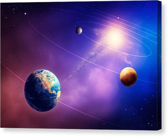 Solar System Canvas Print - Inner Solar System Planets by Johan Swanepoel