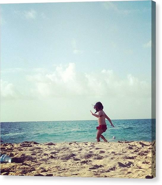 Innocent Canvas Print - Innocence #child #playing #beach by Ariana Hernandez