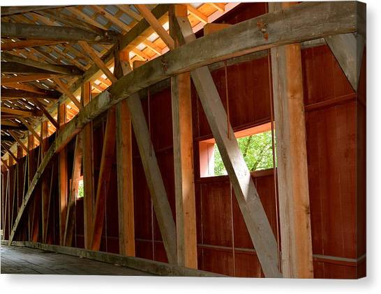 Inside A Covered Bridge 2 Canvas Print