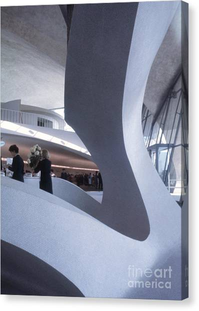 Futurism Canvas Print - Inside Idlewild Airport Twa Terminal 1961 by The Harrington Collection
