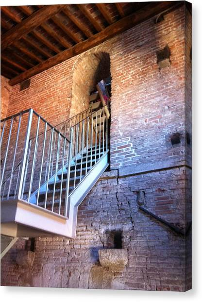 Inside Stairway Of Old Tower In Lucca Italy Canvas Print