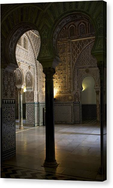 Canvas Print featuring the photograph Inside The Alcazar Of Seville by Lorraine Devon Wilke