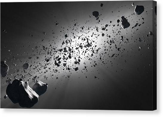 Particle Canvas Print - Inside The Asteroid Belt Against The Sun by Johan Swanepoel